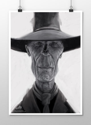 Caricature of Ed Harris as The Man in Black from Westword print