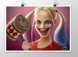 Harley Quinn caricature print