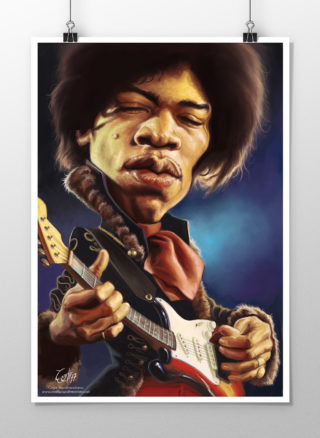 Jimi Hendrix caricature print