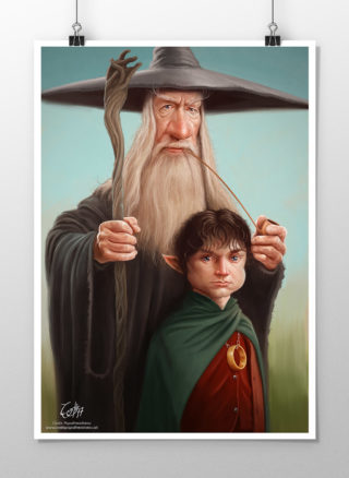 Caricatures of Gandalf and Frodo from Lord of the Rings print