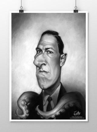H. P. Lovecraft caricature print