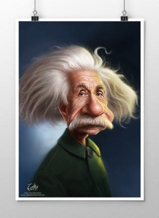 Albert Einstein caricature print