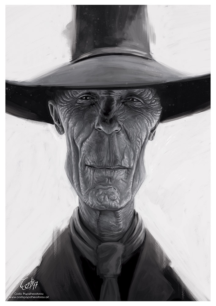 Caricature of Ed Harris as The Man in Black from Westword