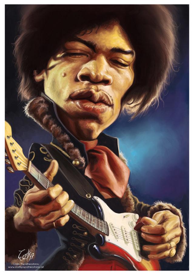 Jimi Hendrix caricature