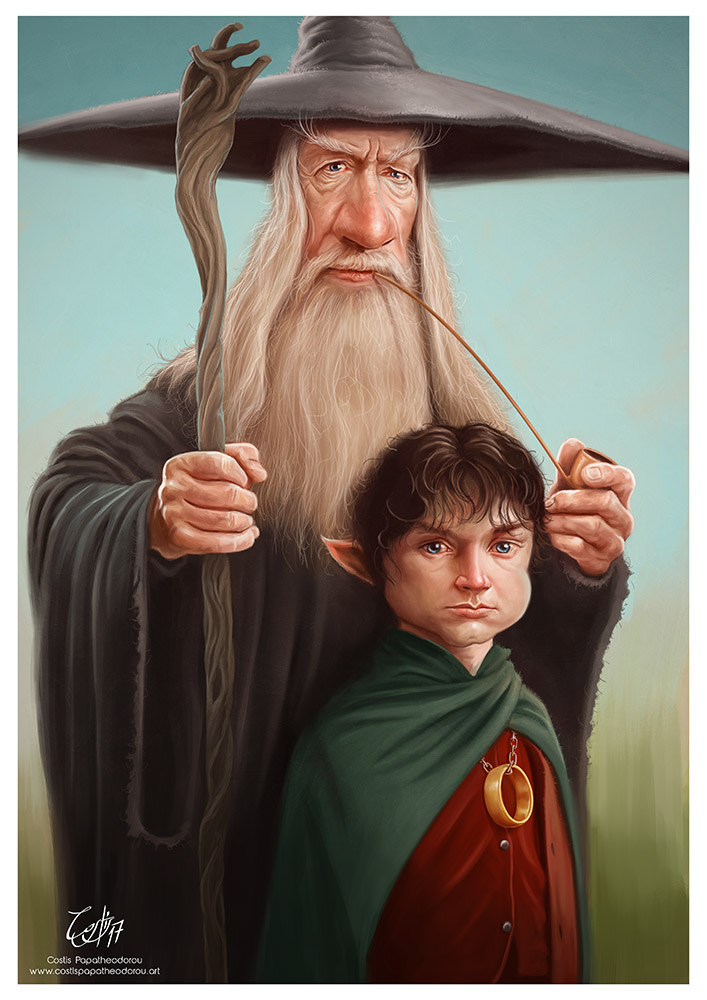 Gandalf & Frodo caricatures from Lord of the Rings