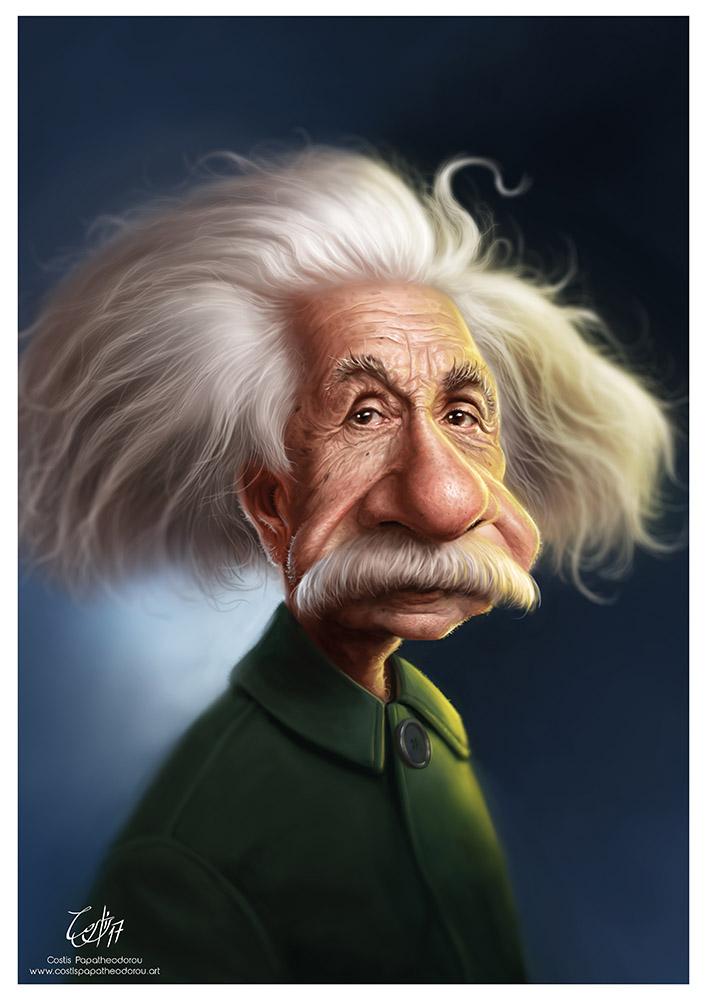 Albert Einstein caricature