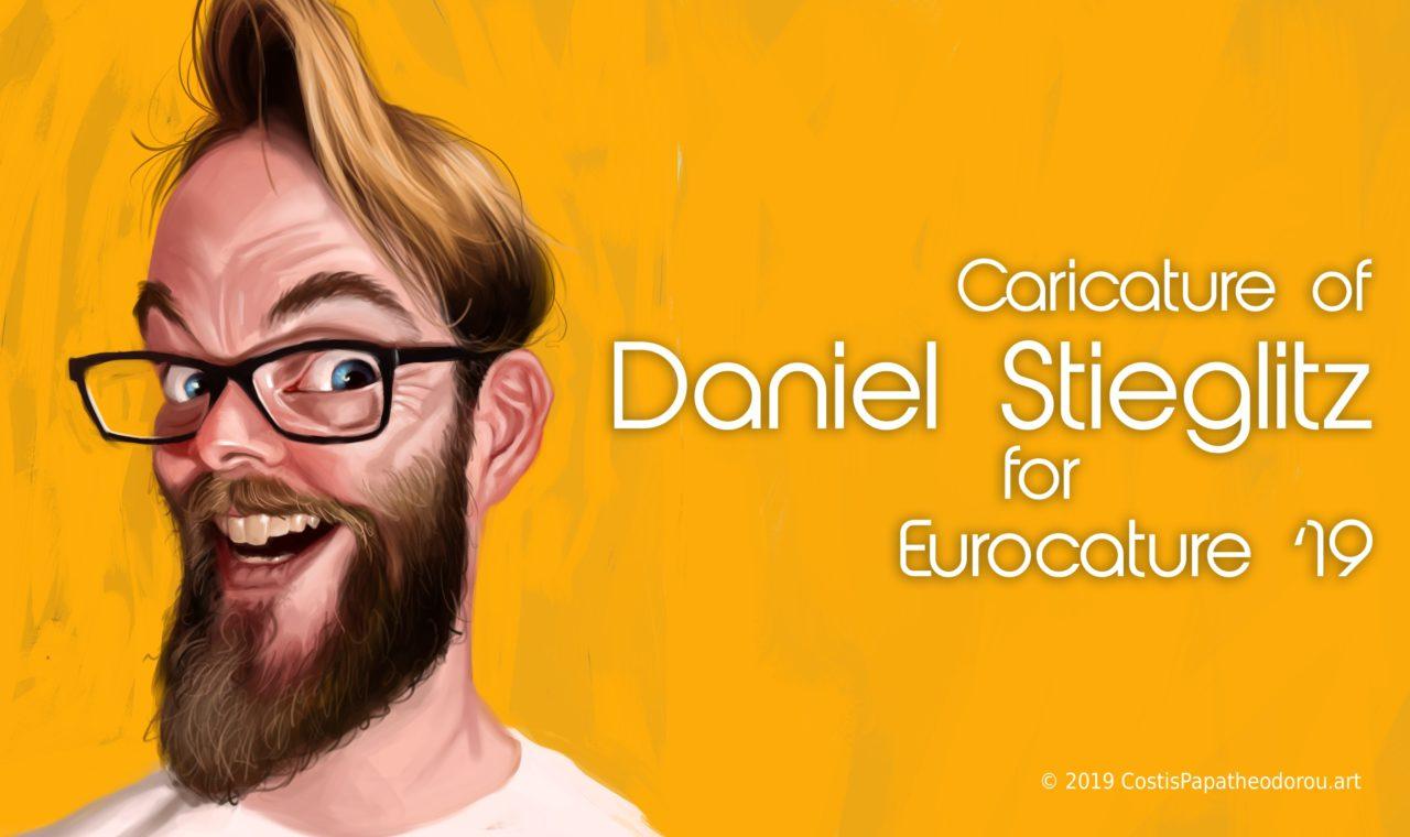 Daniel Stieglitz caricature for Eurocature 2019
