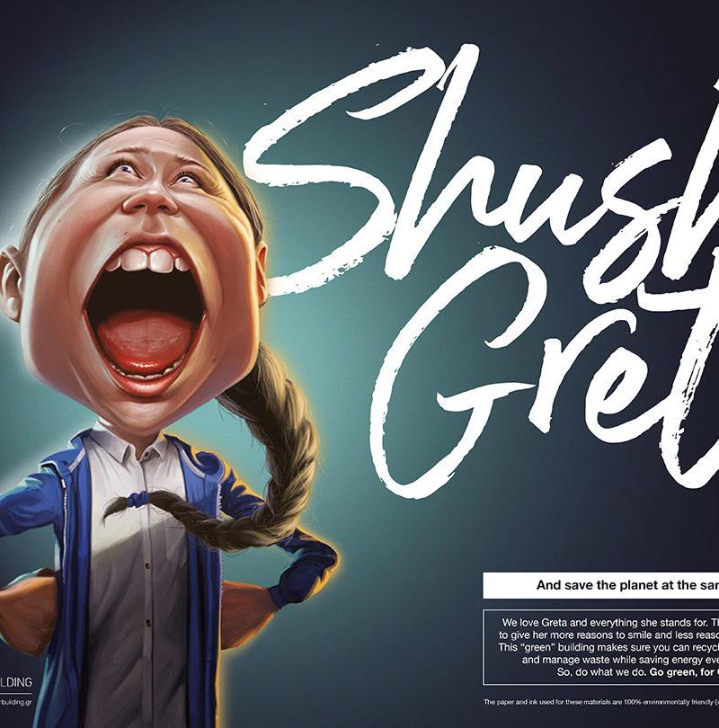 A tricky Greta Thunberg caricature