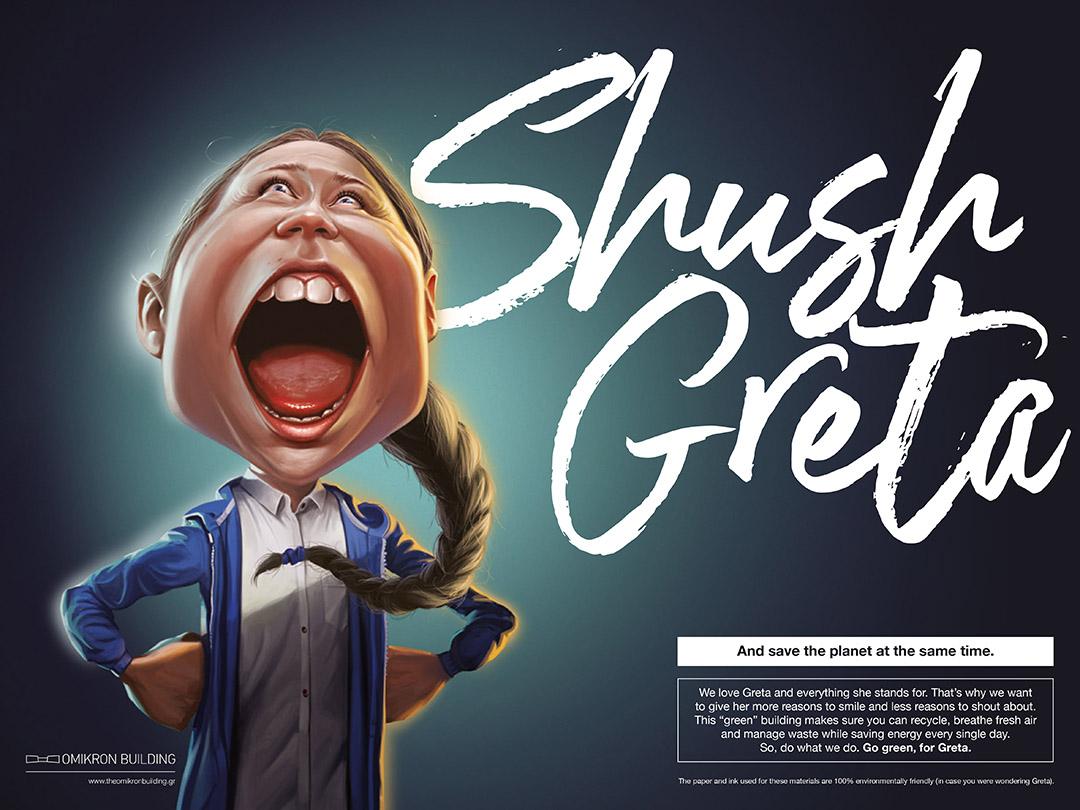 Greta Thunberg caricature sous plat